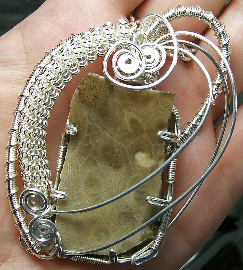 Jewelry Jewelry - Petoskey Stone Slab And Silver Pendant by Heather Jordan