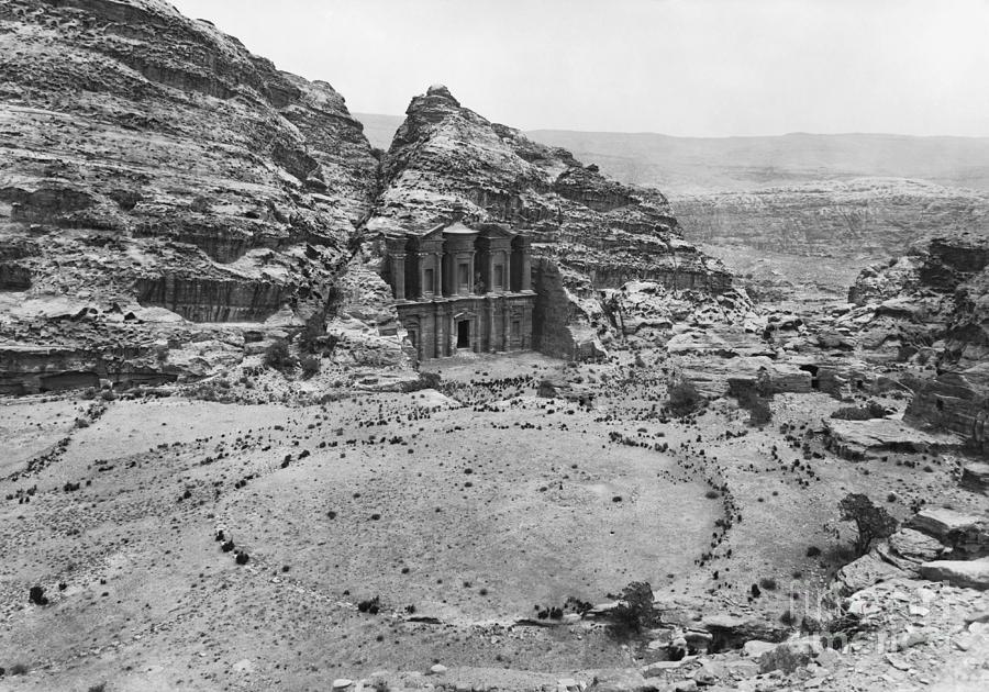 Historic Photograph - Petra, Jordan by Photo Researchers
