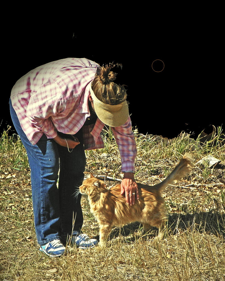 Expressive Photograph - Petting The Ranch Cat by Lenore Senior and Dawn Senior-Trask