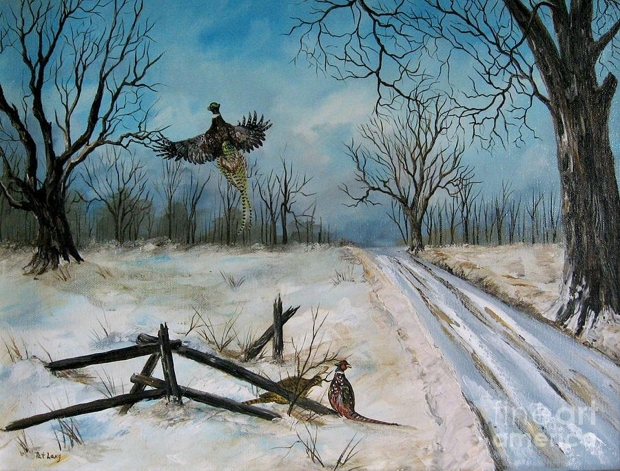 Pheasants Pastel - Pheasants In The Snow by Patricia Lang