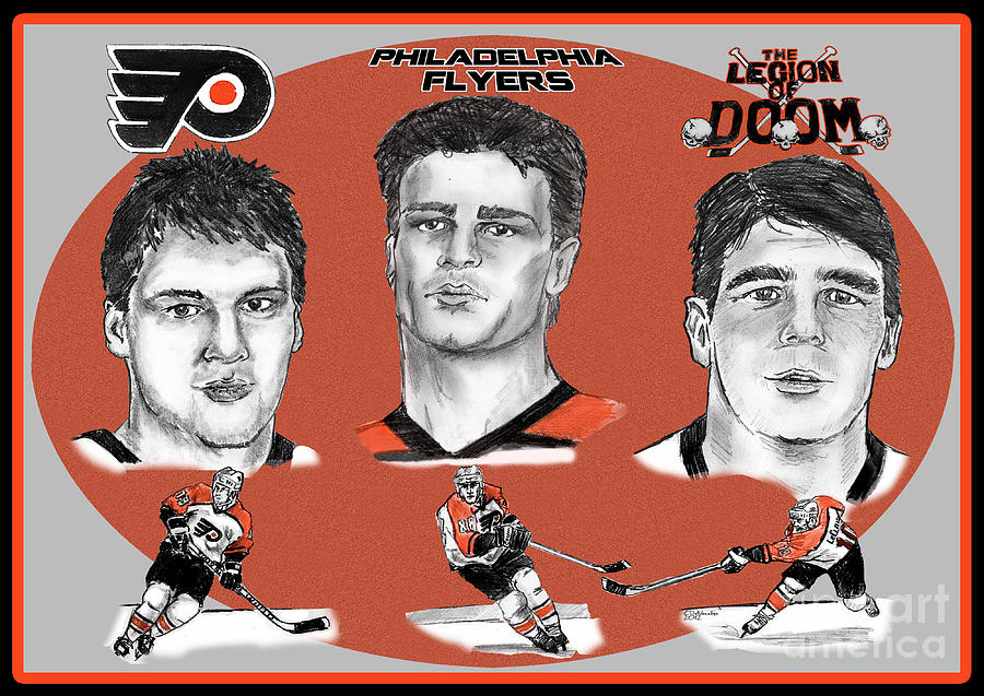 Flyers Drawing - Philadelphia Flyers Legion Of Doom by Chris  DelVecchio