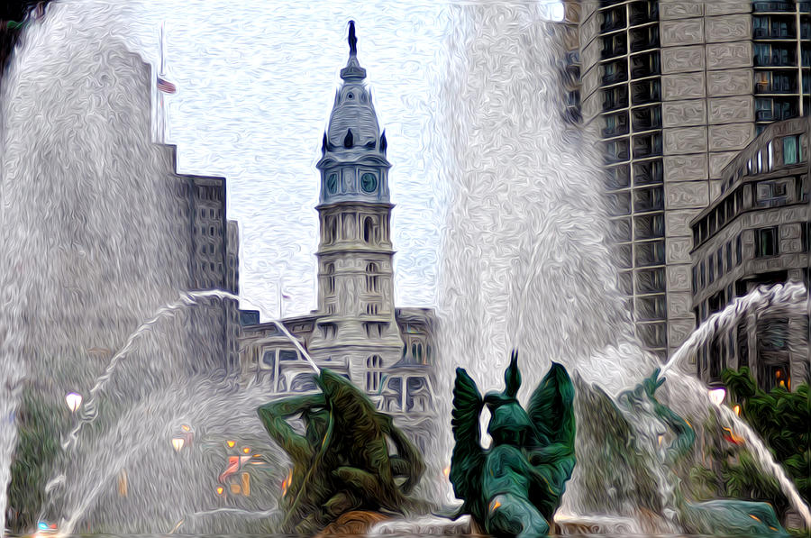 Fountain Photograph - Philadelphia Fountain by Bill Cannon