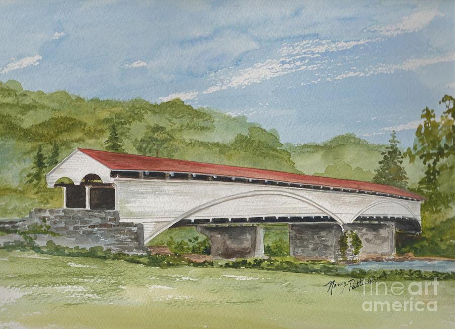 Philippi Covered Bridge Painting - Philippi Covered Bridge  by Nancy Patterson