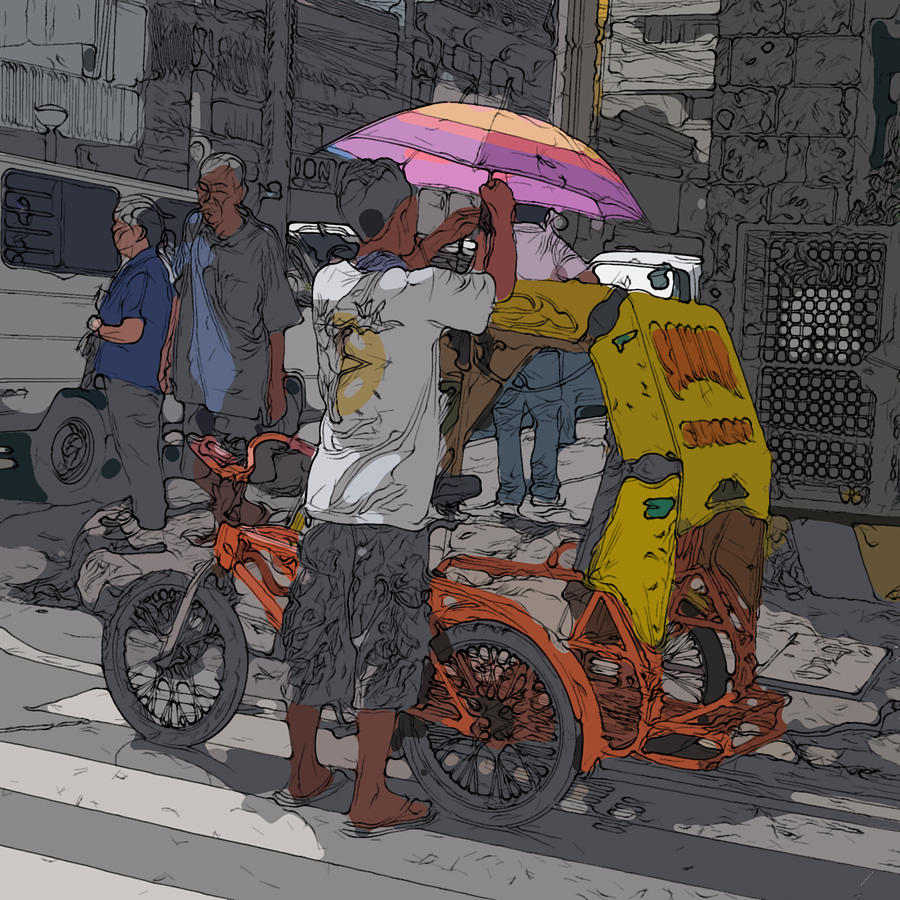 Philippines Painting - Philippines 870 Bicycle Taxi by Rolf Bertram