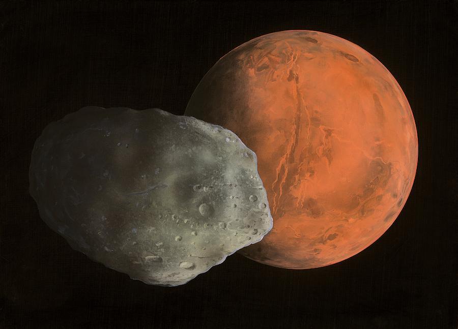 Valles Marineris Photograph - Phobos And Mars, Artwork by Richard Bizley