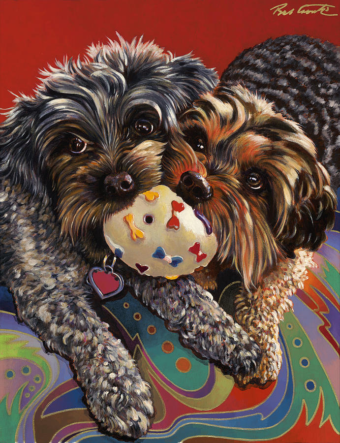 Dog Painting Painting - Phoebe And Isabelle by Bob Coonts