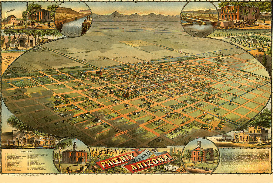 Panoramic Map Digital Art - Phoenix Arizona 1885 by Donna Leach