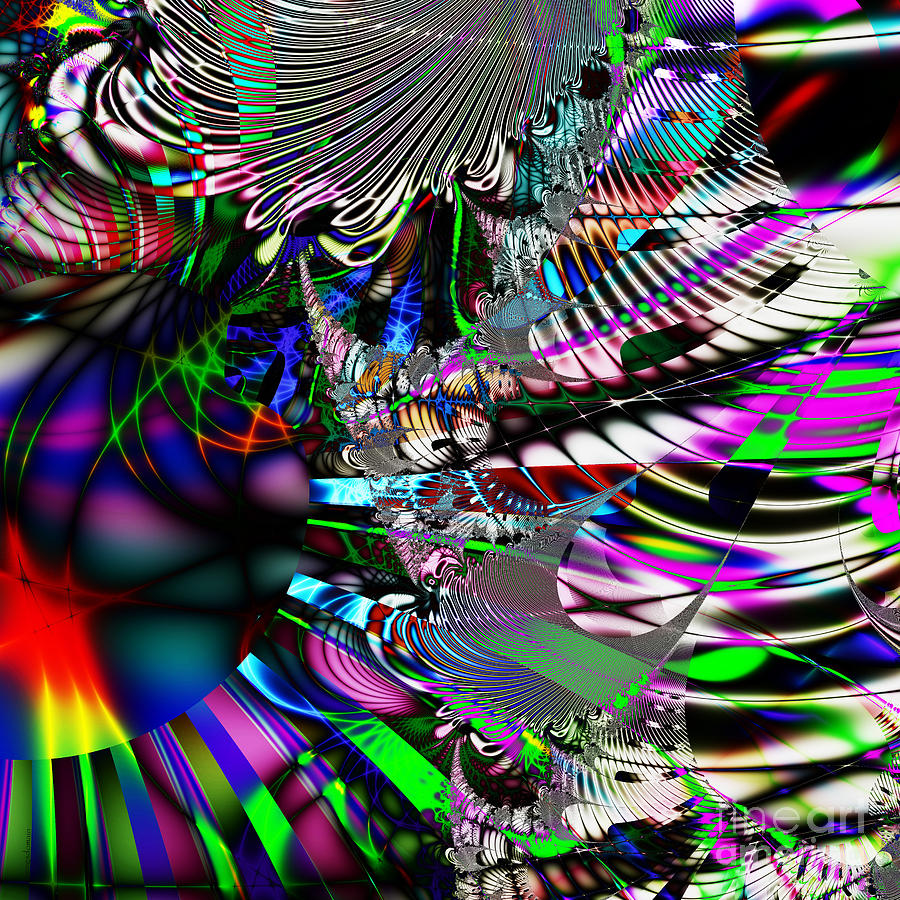 Fractal Digital Art - Phoenix Rising . Square . S3.s9 by Wingsdomain Art and Photography