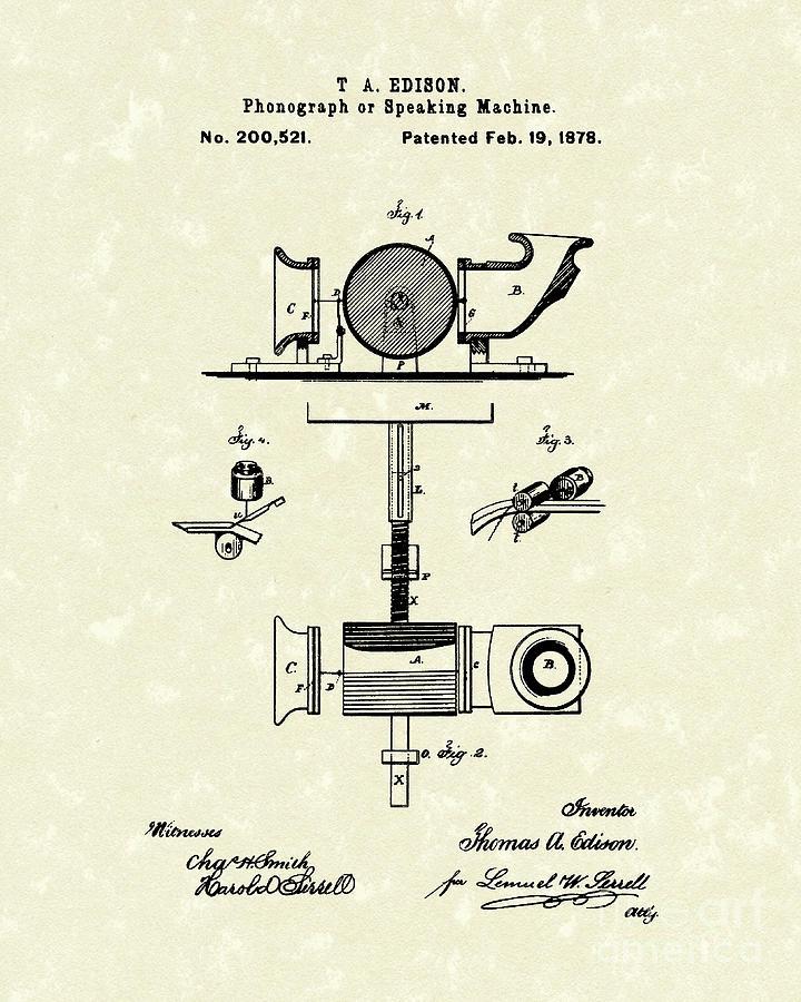 Edison Drawing - Phonograph 1878 Patent Art  by Prior Art Design
