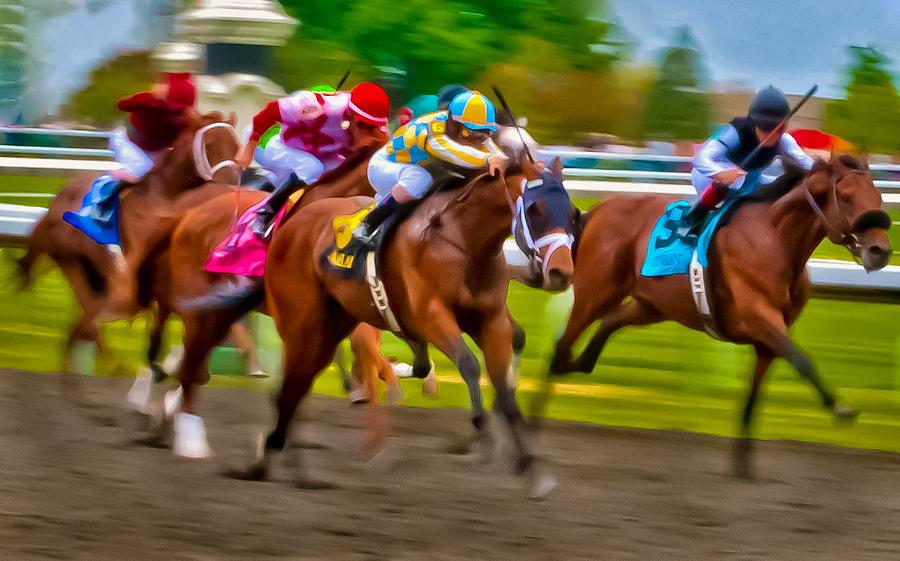 Horse Horses Race Races Racing Thoroughbred Jockey Keeneland Kentucky Motion Blur Blurred Photo Finish Photograph - Photo Finish by Richard Marquardt
