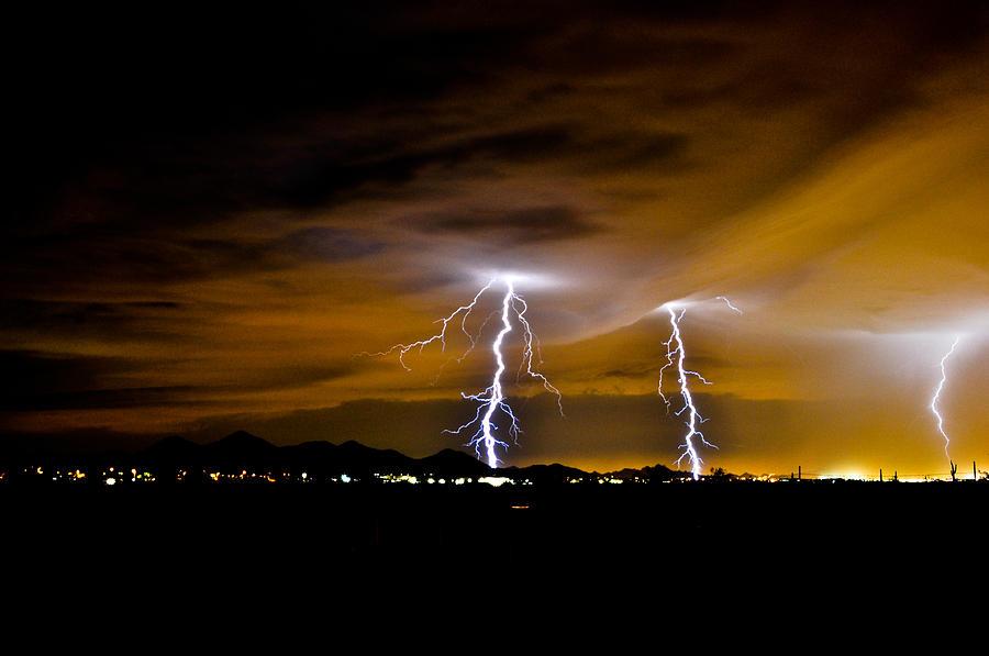 Phoenix Photograph - Phx Night Lightning #1 by Kenny Jalet