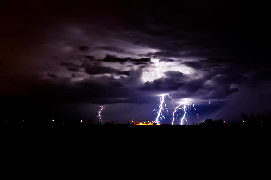 Phoenix Photograph - Phx Night Lightning 6 by Kenny Jalet