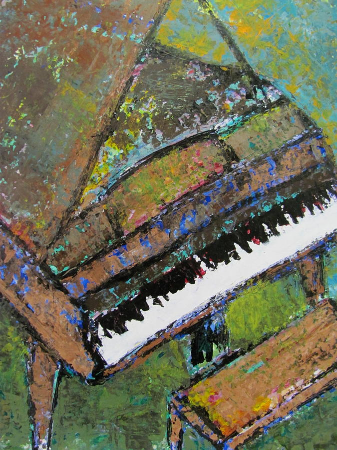 Music Painting - Piano Aqua Wall - Cropped by Anita Burgermeister