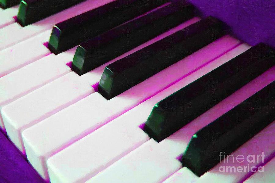 Music Photograph - Piano Keys . V2 . Purple by Wingsdomain Art and Photography