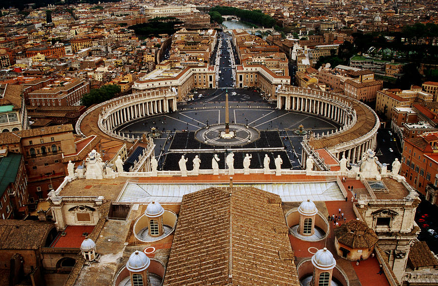 Horizontal Photograph - Piazza San Pietro From St Peter Cathedrals Dome, Rome, Italy by Witold Skrypczak
