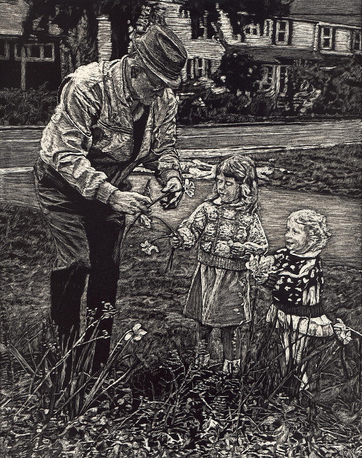 Grandpa Drawing - Picking Flowers with Grandpa by Robert Goudreau