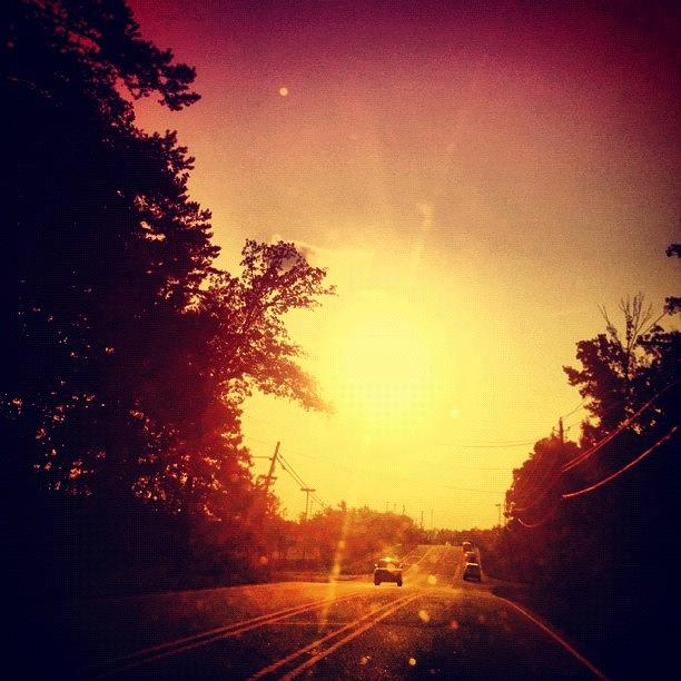 Pink Photograph - Picking Up Dinner #driving #sunset #sun by Katie Williams