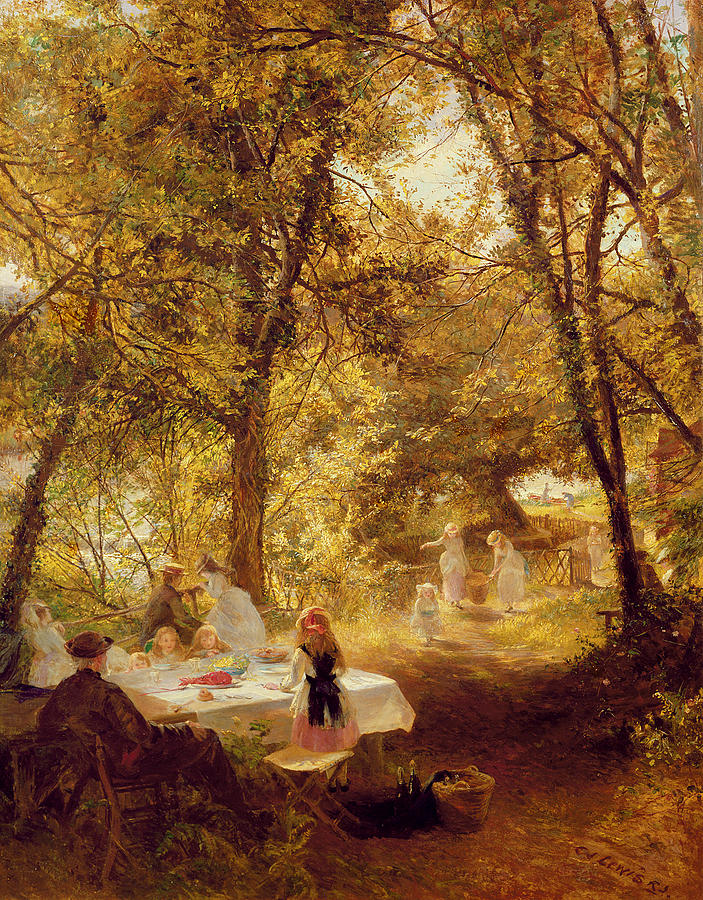Woods Painting - Picnic by Charles James Lewis