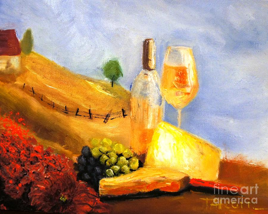 Vineyard Painting - Picnic In The Vineyard by Therese Alcorn