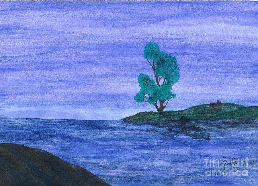 Lake Painting - Picnic On The Point by Robert Meszaros