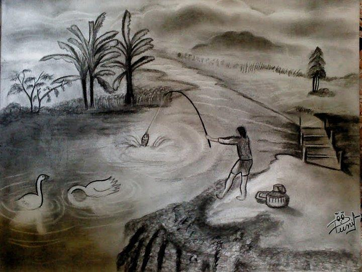 Landscape Drawing - Picnic by Punit Jain