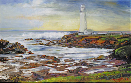 Pidgeon Point Lighthouse Painting by Max Mckenzie