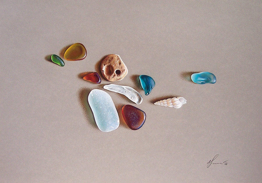Sea Glass Drawing - Pieces From The Ocean by Elena Kolotusha