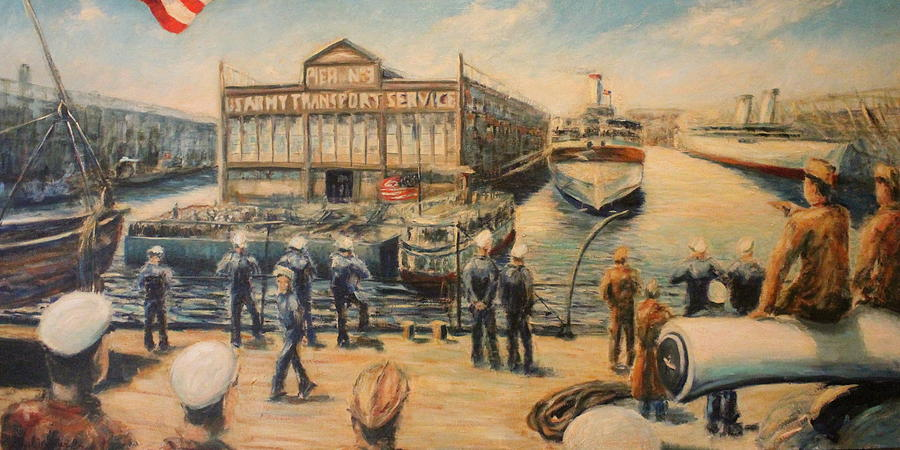 Military Painting - Pier 3  The Us Army Transport Service by Daniel W Green