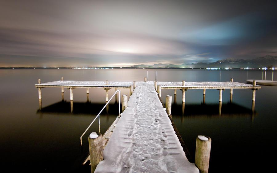 Horizontal Photograph - Pier At Night by daitoZen