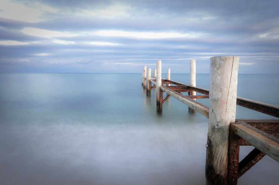 Horizontal Photograph - Pier In Pampelonne Beach by Dhmig Photography