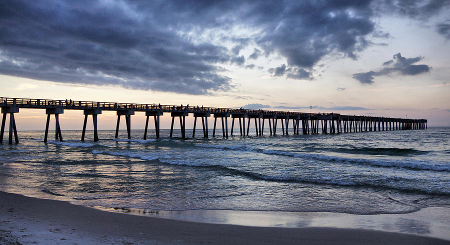 Pier Photograph - Pier In The Evening by Sandy Keeton