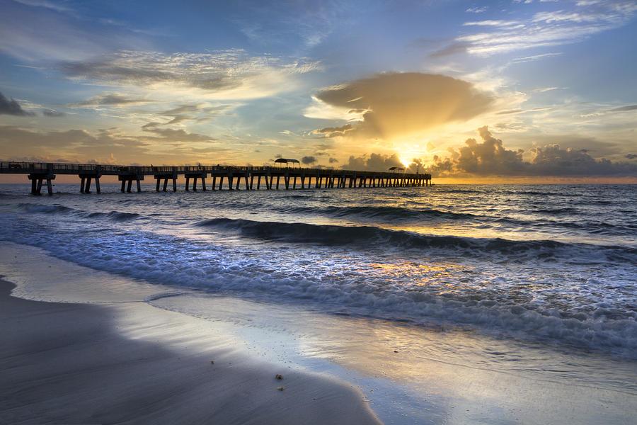 Clouds Photograph - Pier Lights by Debra and Dave Vanderlaan