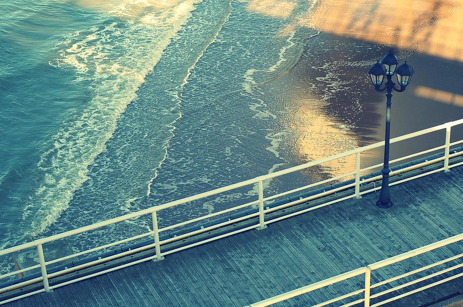 Horizontal Photograph - Pier With Lamp On Coast Of North Sea by Photo by Ira Heuvelman-Dobrolyubova