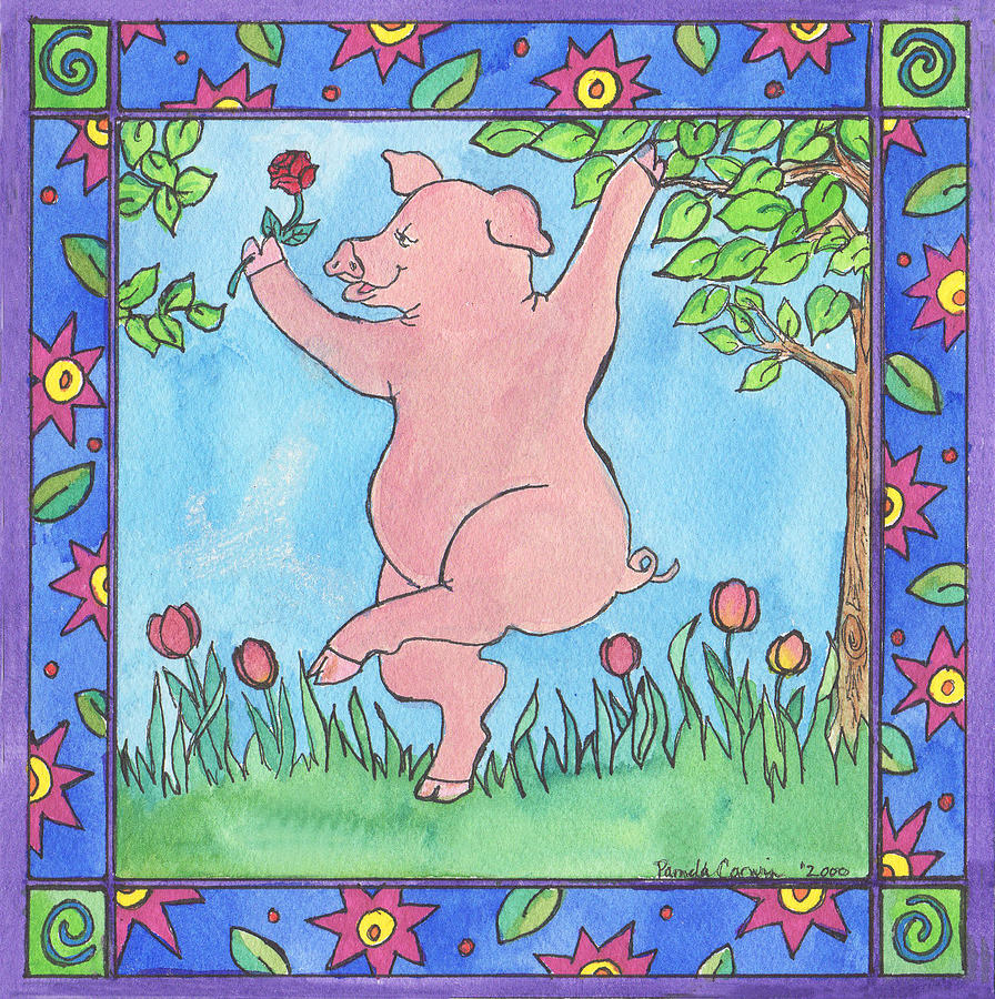 Pig Painting - Pig Dance by Pamela  Corwin