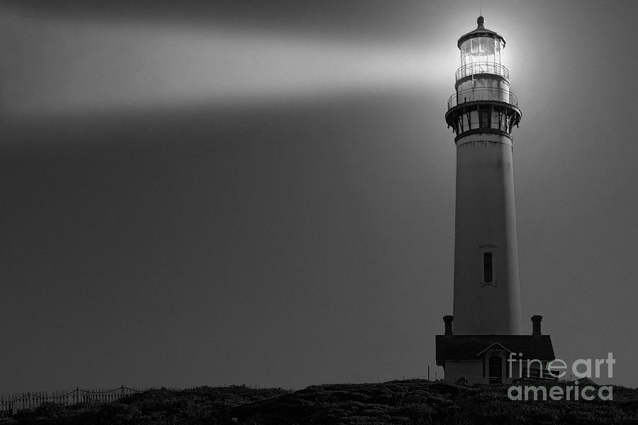 Pigeon Point Lighthouse In Black And White Photograph by ...