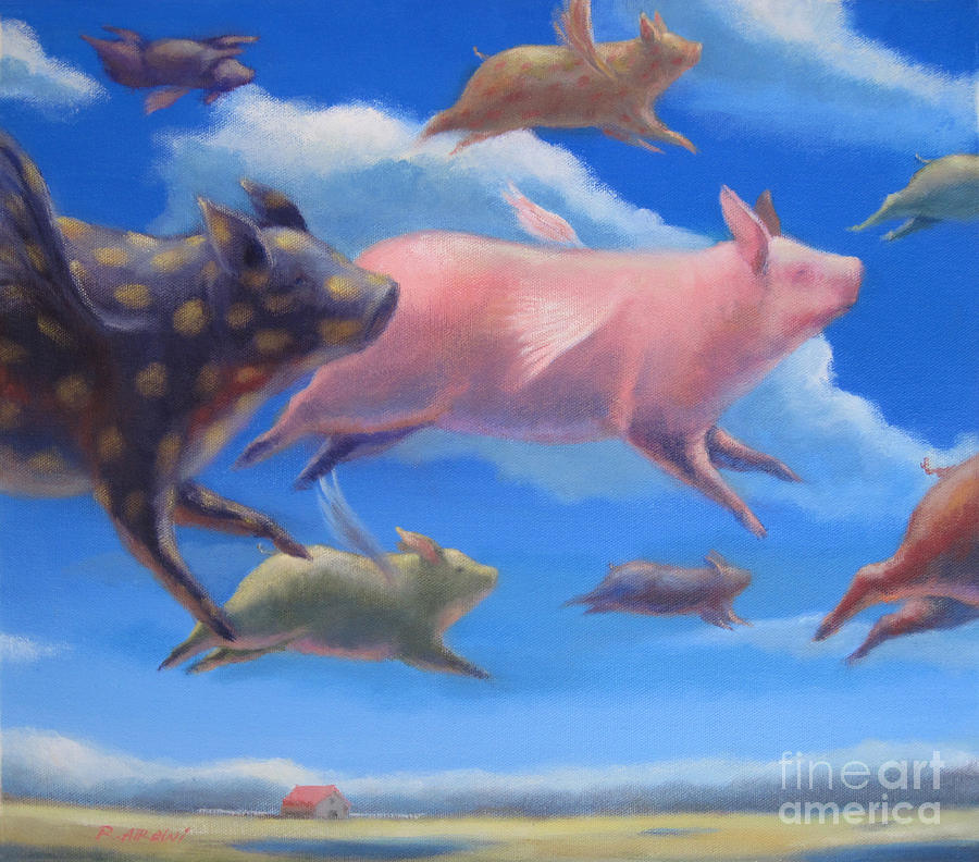 pigs can fly painting by raed al rawi