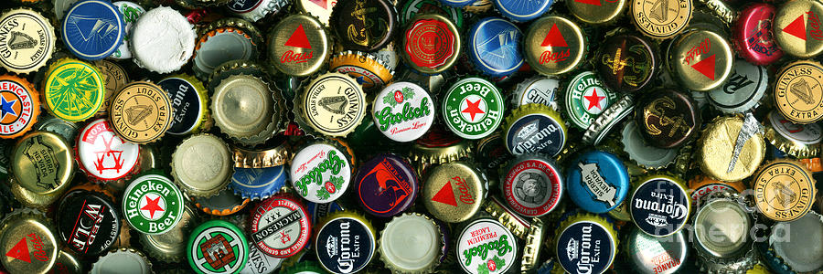 Long Photograph - Pile Of Beer Bottle Caps . 3 To 1 Proportion by Wingsdomain Art and Photography