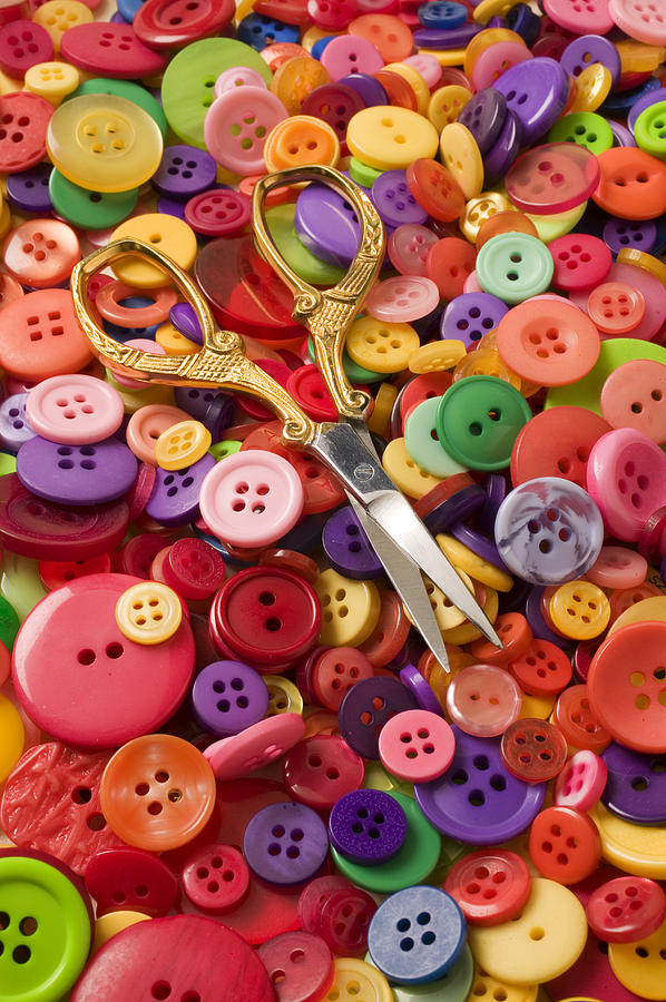 Button Photograph - Pile Of Buttons With Scissors  by Garry Gay
