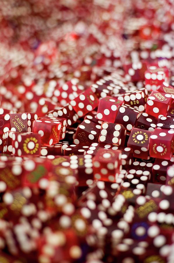 Vertical Photograph - Pile Of Dice At A Casino, Las Vegas, Nevada by Christian Thomas