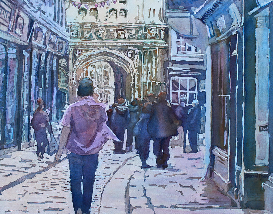 Canterbury Painting - Pilgrims At The Gate by Jenny Armitage