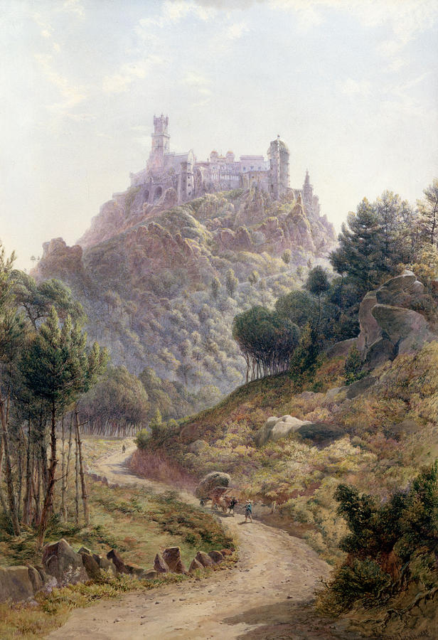 George Painting - Pina Cintra Summer Home Of The King Of Portugal by George Leonard Lewis