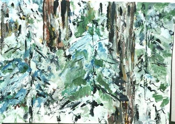Pine Forest Detail Painting by Ilona Pincse