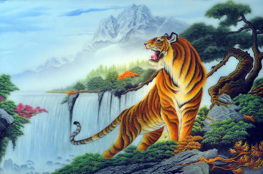 Large Print White Tiger Painting