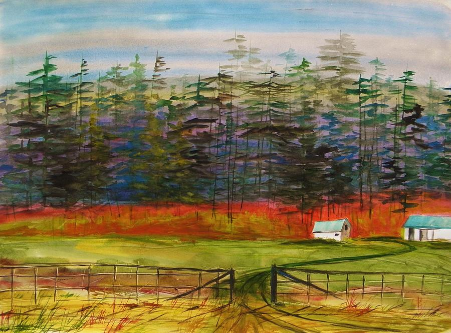 Colorful Painting - Pines Behind The Barns by John Williams