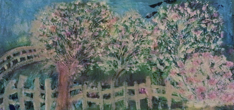 Fence Painting - Pink And White Trees And Fence by Anne-Elizabeth Whiteway