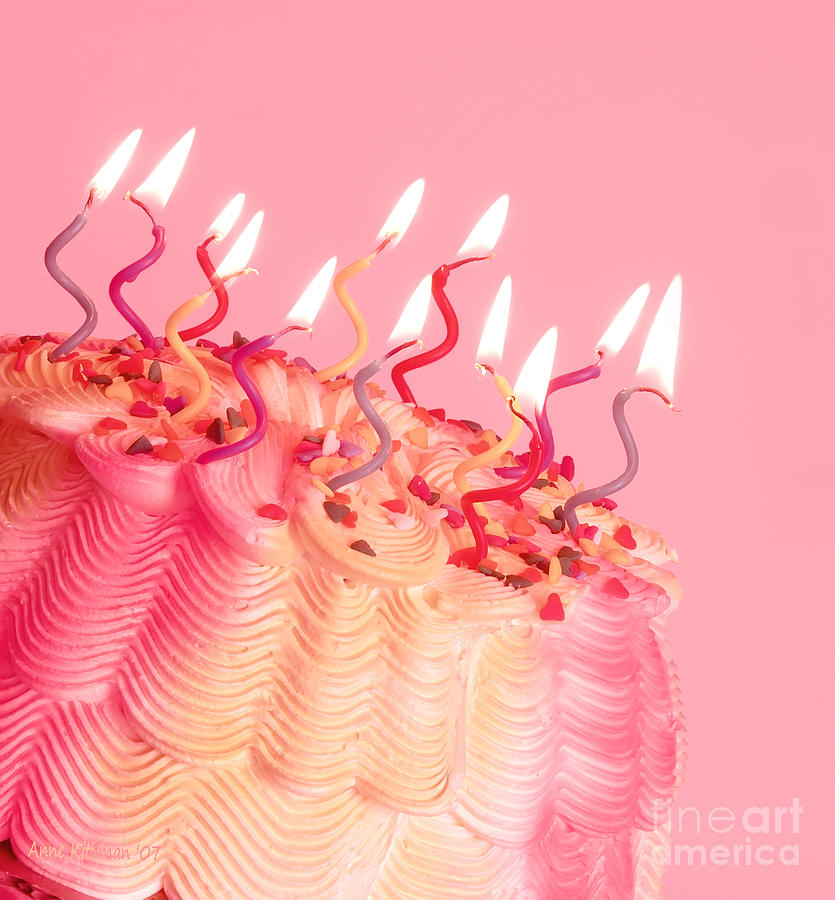 Pink And Yellow Birthday Cake Photograph By Anne Kitzman