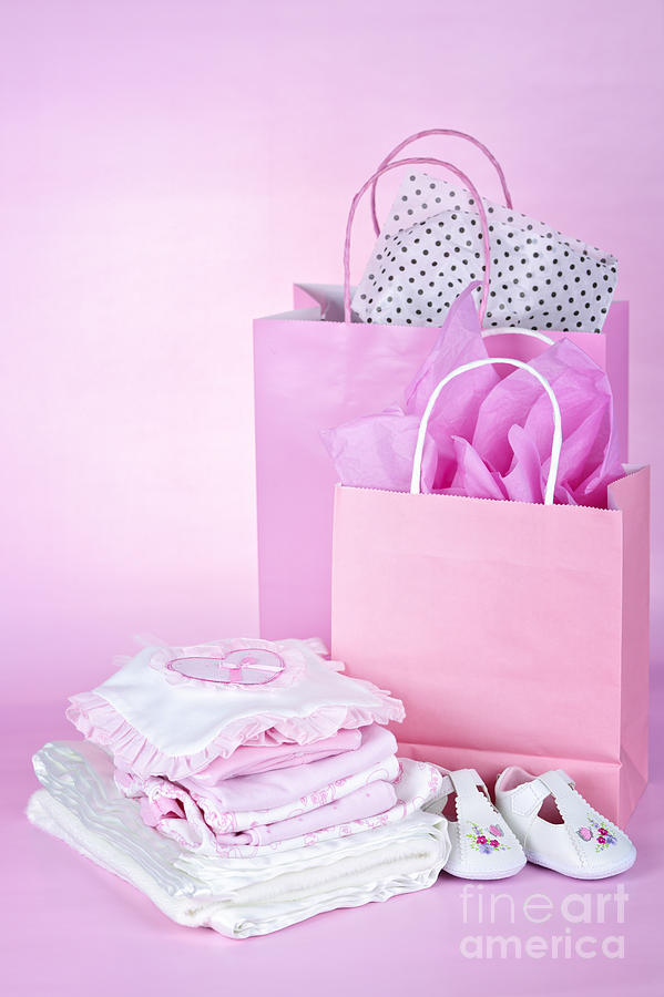 Baby Clothes Photograph - Pink Baby Shower Presents by Elena Elisseeva