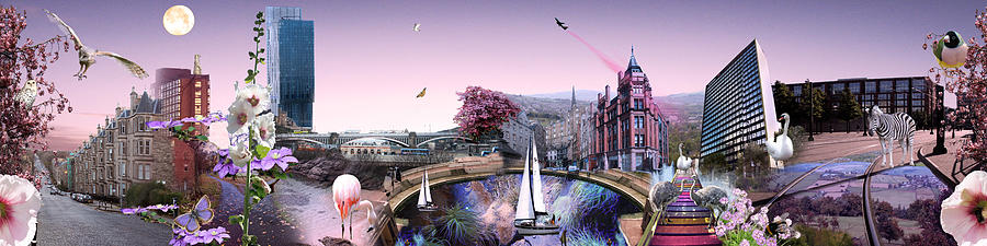 Landscape Digital Art - Pink City by Emily Campbell