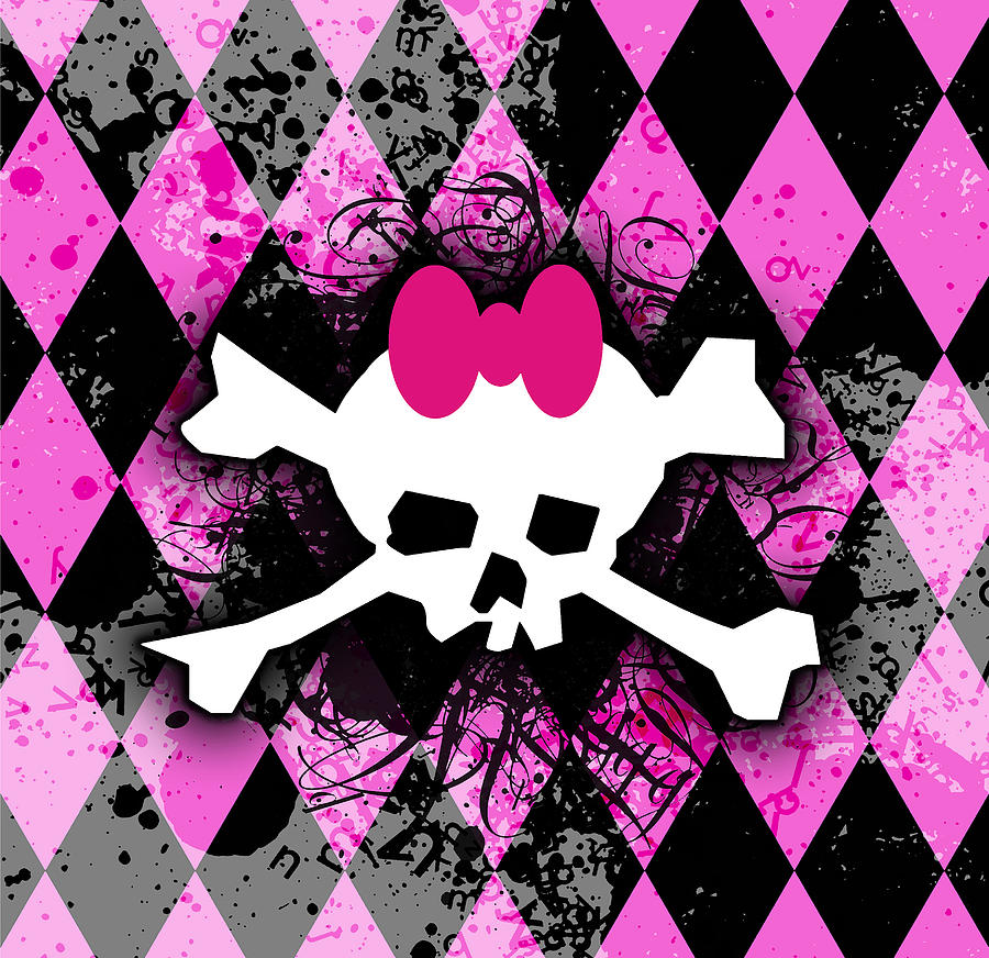 Girly Digital Art - Pink Diamond Skull by Roseanne Jones
