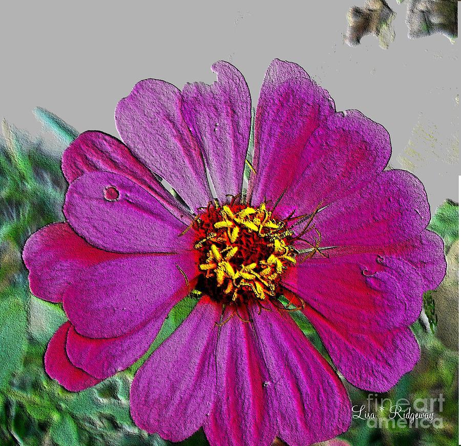 Pink Mixed Media - Pink Flower by Lisa  Ridgeway
